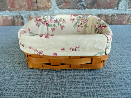 """LONGABERGER Small Square Basket With Cloth Liner  ~  5"""" x 5""""  ~  Dated 2001"""