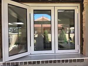WHITE BIFOLD WINDOW|ALUMINIUM - DOUBLE GLAZED - 1200h x 1810w