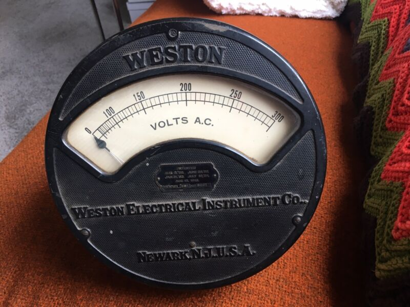 "1913 Vintage Industrial Antique Weston Electrical Instruments Volt Meter, 9"""