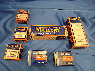 7 Mallory Precision Midget Volume Controls Ac Switch Mr-39-j Mr-36-j Ac 6-9