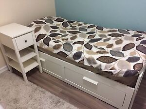 IKEA BRIMNES Twin Daybed with bedside table and mattress