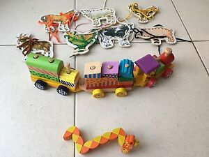 Wooden toys - train, threading and twisting Indooroopilly Brisbane South West Preview