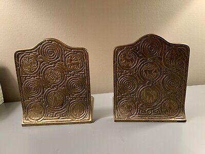 Pair Tiffany Studios Antique Bronze Gold Patina Zodiac Desk Book Bookends #1091