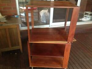 Hand Made Jarrah Rotatable TV Cabinet with Castors
