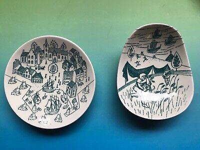 Denmark Nymolle Art Faience Hoyrup Ceramic Green Limited Ed Plate Pottery