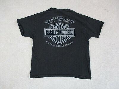 Harley Davidson Shirt Adult Large Black Gray Florida Motorcycle Rider Mens A16