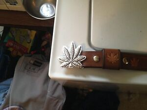 Real leather cannabis belt with belt buckle