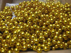 GOLD CHRISTMAS BEAD CHAIN 5.45m GARLAND DECORATION TREE ROOM WALL CRAFT
