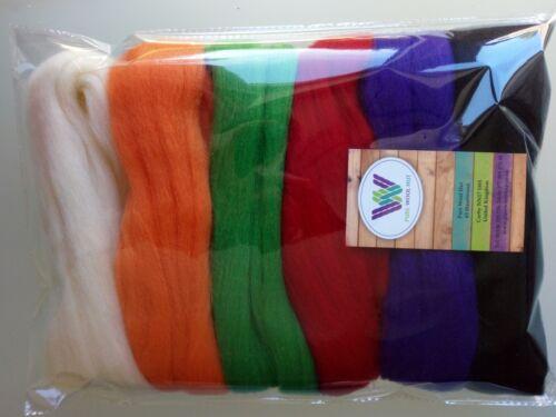 Halloween* Pure Merino Wool Tops for felting Orange Red Green Purple Black, 60 g