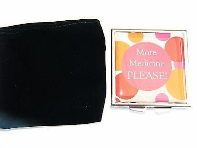 """Decorative 3 Compartment Pill Box Pillbox with mirror """"More"""