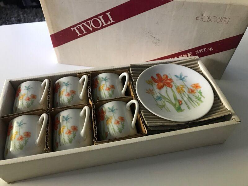 Demitasse TIvoli Cups Saucers Toscany Set Japan Orange Summer Spring Autumn B14