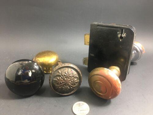 Lot Of Vintage Mixed Door Knobs- Brass, Ceramic-Cast Iron? Singles