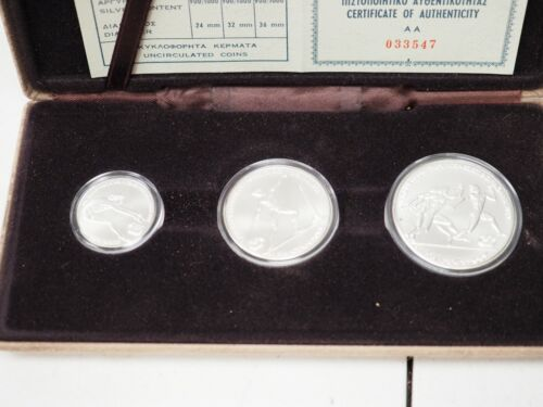 Olympic set of 3 silver coins - hellenic republic certificate of authenticity