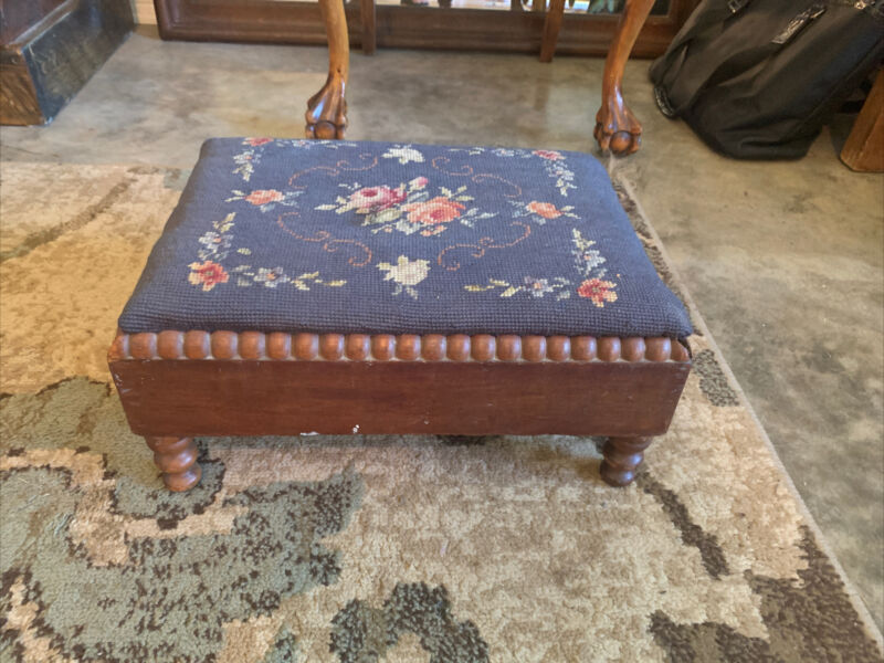 Antique Wood Foot Stool Ottoman with Blue Embroidered Floral Needlepoint