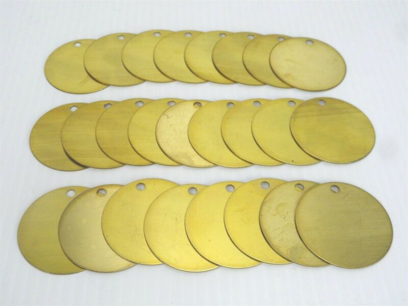 "(Lot of 25) BLANK BRASS ROUND Lock Out or Valve Tags w/Hole 2"" Dia. .037 Thick"