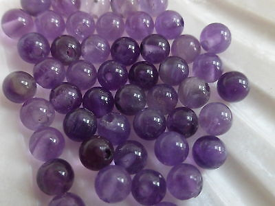 2 Pairs x 4mm Half Drilled Purple Amethyst Round Beads (4 Beads) Halfdrilled