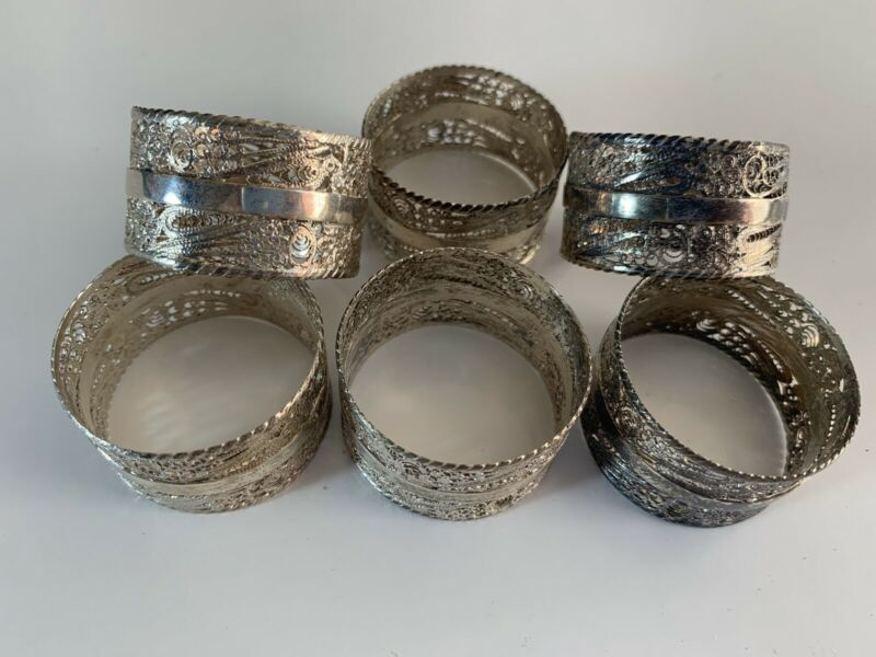 Vintage Set of Six Sterling Silver Napkin Rings 925