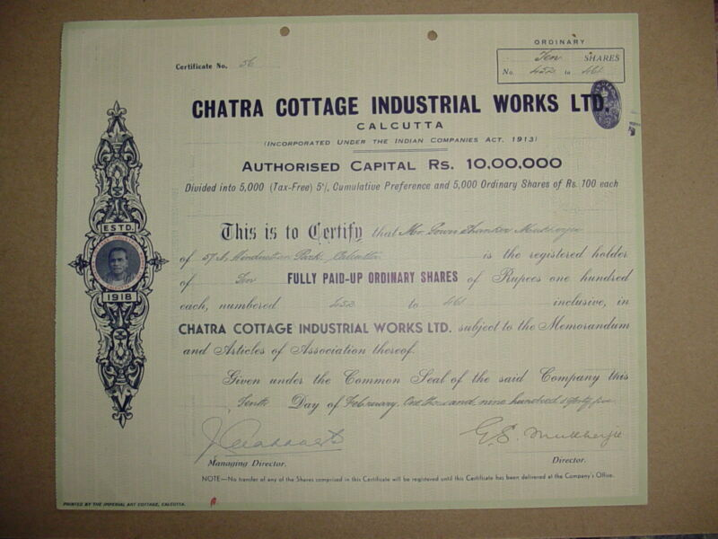 Chatra Cottage Industrial Works LTD. Stock Certificate Calcutta India