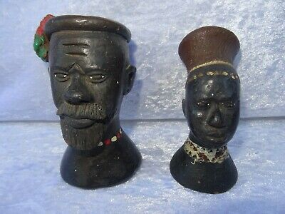 1940's 50's Vintage Pair of African Pottery Tribal Blackamoor Statues