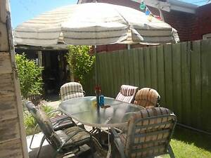 Large Glass Table, 6 chairs & an umbrella Glen Iris Boroondara Area Preview