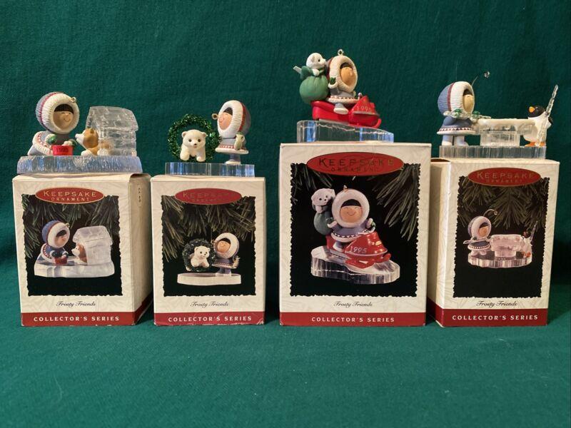 HALLMARK 1993- 1996 Frosty Friends Eskimo Husky Polar Bear Penguin Ornaments Lot