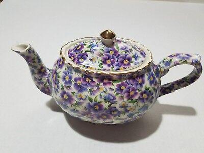 Vintage 1950s Arthur Wood Staffordshire England CHINTZ Floral English Teapot FUN
