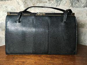 Vintage black MAPPIN & WEBB lizard skin classic 1940s/50s handbag, twin handles