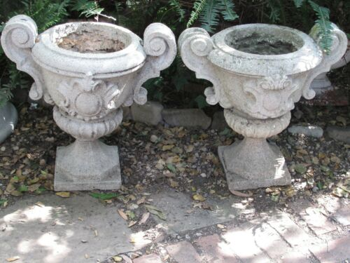 Antique Large Cast Stone and Concrete Garden Urns / Planters Pair