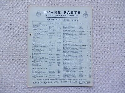 JOWETT 7 HP 1932-33 LUCAS Parts List published February 1934