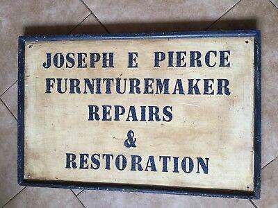 Large Primitive Antique Painted Wood Furniture Maker's Advertising Sign, Shop ()