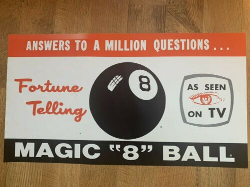 "Vintage Magic ""8"" Ball Advertising Poster Sign Store Display Rare"