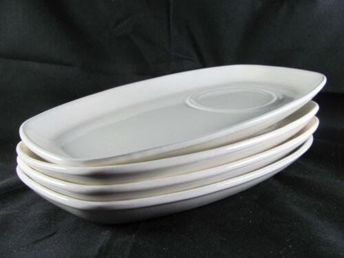 "4 Frankoma Soup Sandwich Snack Plates, 11-3/8"", tray, off white, bone, ivory"
