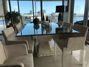 Stone and glass 8 seat dining table excellent condition
