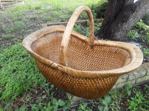 "HUGE 30"" Long VINTAGE CHINESE WILLOW BASKET Hand Woven Wood Handle"