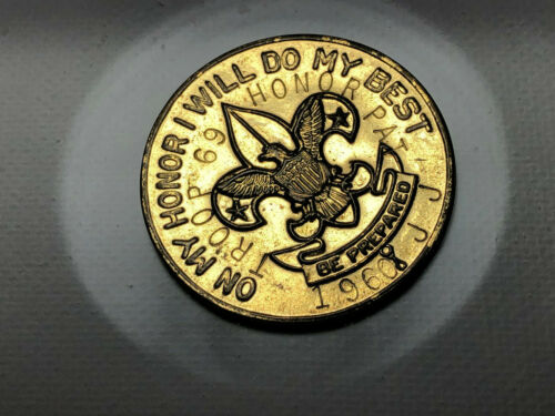 Vintage 1960 Boy Scout Brass Token On My Honor I Will Do My Best Troop 69 Stamp