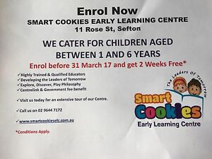 Smart cookies early learning centre enrol Sefton Bankstown Area Preview