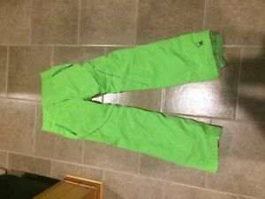 Snow pants lime green spider brand snow pants kids size 16