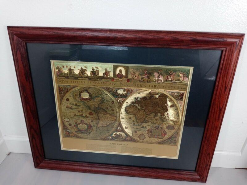 "Framed GOLD FOIL BLAEU Wall map OLD & NEW WORLD 33"" X 26"""