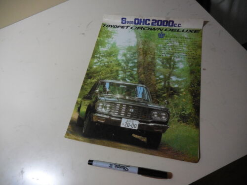 TOYOTA TOYOPET CROWN DELUXE Japanese Brochure 1965?  MS41 M Stain Memo Curl Torn