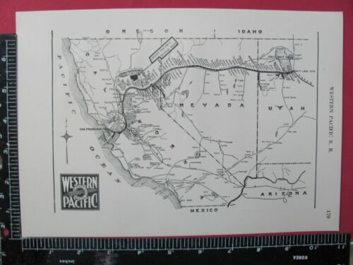 WESTERN PACIFIC RAILROAD 1925 SYSTEM MAP ROUTES CONNECTING RRs