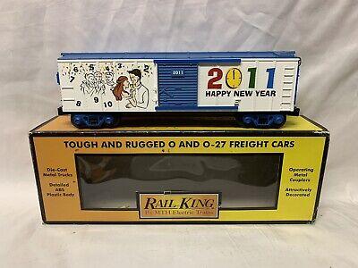 ✅MTH RAILKING NEW YEARS 2011 BOX CAR 30-74606! FOR O GAUGE TRAIN SET CHRISTMAS