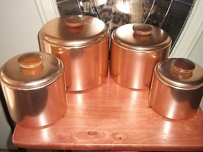 Vintage Mirro Copper Colored Aluminum Canister Set - 8 Pc. w/Lids