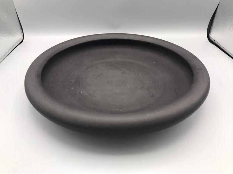 """Antique Wedgwood Black Basalt Low Bowl or Centerpiece Impressed Mark 13 1/2"""""""