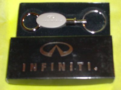 Two Piece Infiniti Key Chain Brushed Silver Metal  New in Original Gift (Two Piece Gift Box)