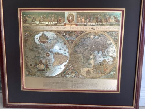 BLAEU Wall map OLD & NEW WORLD Vtg Finest in Existence