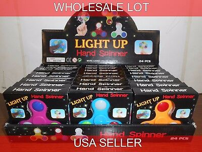 48PK LIGHT UP FIDGET/HAND SPINNERS ASSRT COLOR DISPLAY USA SELLER FREE SHIPPING