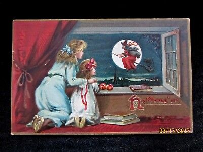 Antique Vintage Raphael Tuck Halloween Postcard ~ Red Witch in Moon 1908