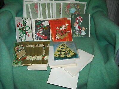 vintage christmas cards unused some in wrappers some from sets