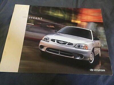 2002 Hyundia Accent Color Brochure Catalog Prospekt