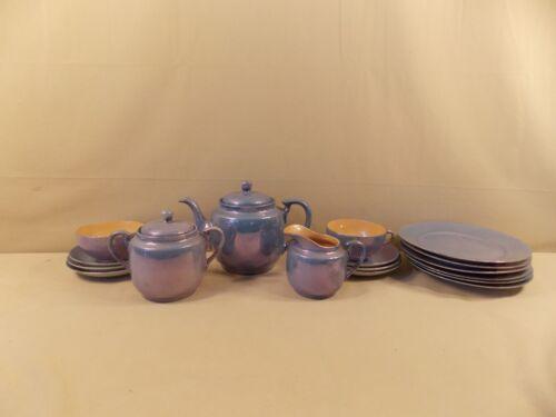 Vintage Blue Iridescent Tea Set